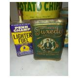4 vintage Tins - Old Dutch, pen lighter fluid, tuxedo tobacco.