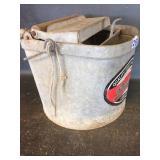 Vintage Metal Mop Bucket with Roller