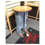 Cowboy Torso Wood-Top Pedestal Table
