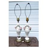 Pair of Vintage Ornate Ceramic Lamps