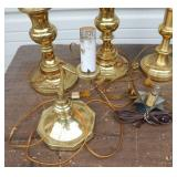 Lot of Six Vintage Brass and Ceramic Lamps