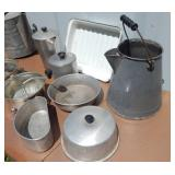 Lot of Vintage Metal Water Buckets, Food Mills and Other Metal Housewares