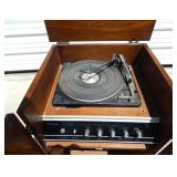 Vintage Montgomery Ward Airline Compact Stereo System and Turntable in Cabinet