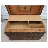 Large Ornate Antique Barrel Stave Flat Top Wheeled Travel Trunk