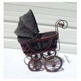 Decorative Metal and Wood Mini Doll Carriage