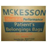 McKesson patient belonging bags with rigid handle, Factory sealed, case of 250.