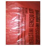 1 roll hazardous waste bags - red with biohazard labeling.