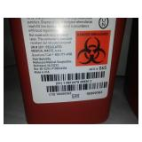 3 Sharps container biohazard infectious waste, 1 quart size with tops.