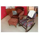Chair, footstool and rocking chair...