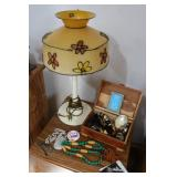 Jewelry box, jewelry and table lamp...