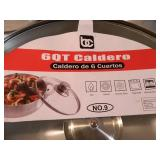 4 New Caldero Pans with Glass Lids