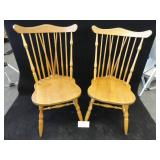 Two Solid Oak Chairs Made Extremely Well