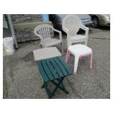 Lawn chairs and small tables