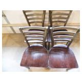 Lot of 4 Metal and Wood Dining Chairs