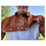 Leather welders top bib with arms
