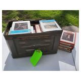 Ammo box full of 8 track tapes