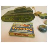 vintage wood spools, toy tank, card game