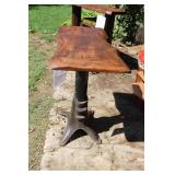 Industrial Pub-Style Metal Post Table with Oak Live Edge Top