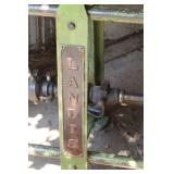 Landis Industrial Metal Frame Bar with Oak Live Edge Top and Driveshaft Footrail
