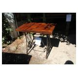Singer Industrial Metal Frame Sewing Table with Wood Top