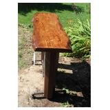 John Deere Radiator Industrial Pub-Style Metal Post Table with Oak Live Edge Top