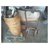 2 wheeler & metal can with contents and mini pallet.