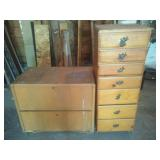 Pine tall boy dresser & oak file cabinet and contents.