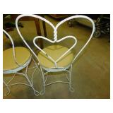 2 Vintage Metal Heart Backed Chairs