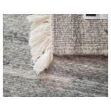 Ethan Allen Light Gray Wool Soumak 8 x 10 Area Rug