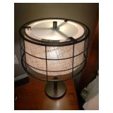 Pair of Industrial Iron and Canvas Lamps