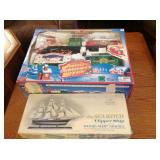 Wood Ship Model & Musical Christmas Train