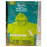 (3) New Boss .35mm High-Visibility Rain Jackets, Size XL