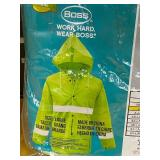 (3) New Boss .35mm High-Visibility Rain Jackets, Size Large