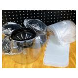Box Of (5) New Econ Head-Gear Safety Shield Head Frames With Assorted New Replacement Safety Shields
