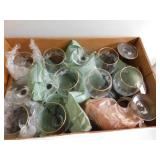 Lot of Glass Goblets with Winter Scene