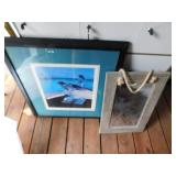 Bird Picture and Wood Framed Mirror