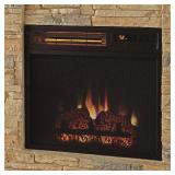Home Decorators Collection Highland 40 in. Faux Stone Mantel Electric Fireplace in Tan 102907