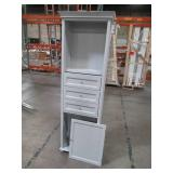 Home Decorators Collection Hampton Harbor 22 in. W x 10 in. D x 67-1/2 in. H Linen Storage Cabinet in Dove Grey - Some Slight Dings/Scratches.