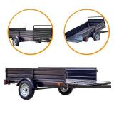 Detail K2 1639 lb. Payload Capacity 4.5 ft. x 7.5 ft. Utility Trailer with Bed Tilt and Collapsing Ends to Extend Bed to 12 ft., MMT5X7 - Package Looks to have been opened. May be missing parts have s