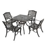 (TABLE TOP ONLY) For Sarasota Bronze Aluminum Square Outdoor Dining Set - Missing Base and Chairs - Table Top Only.