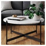 Nathan James Piper White Faux Marble Black Metal Frame Round Modern Living Room Coffee Table 31501
