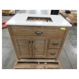 Home Decorators Collection Stanhope 37 in. W x 22 in. D Vanity in Reclaimed Oak with Engineered Stone Vanity Top in Coffee with White Sink SNOVT3722DR