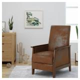 Noble House Madalyn Brown Microfiber Push Back Recliner with Exposed Wooden Frame 41790