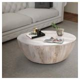 The Urban Port Light Brown Mango Wood Coffee Table in Round Shape, UPT-32181