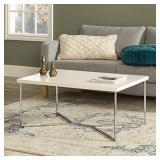 Walker Edison Furniture Company Mid Century Modern Gold Rectangle Coffee Table, Marble/Chrome AZF42LUXWMC