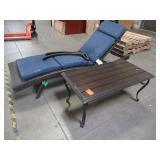 Mixed Brown Wicker Lounge Chair and Aluminum Table - Missing screws to install chair arms.