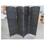 Oriental Furniture 6 ft. Black 4-Panel Room Divider, SSFIBER-4P-BLK.