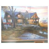 "Craig Benson "" American Legends"" Cabin at the Lake Framed Print"