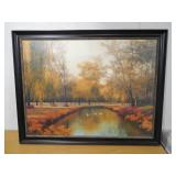 Framed Weeping willow with geese in creek print