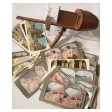 Antique Stereoscope Viewer with 40+ View Cards
